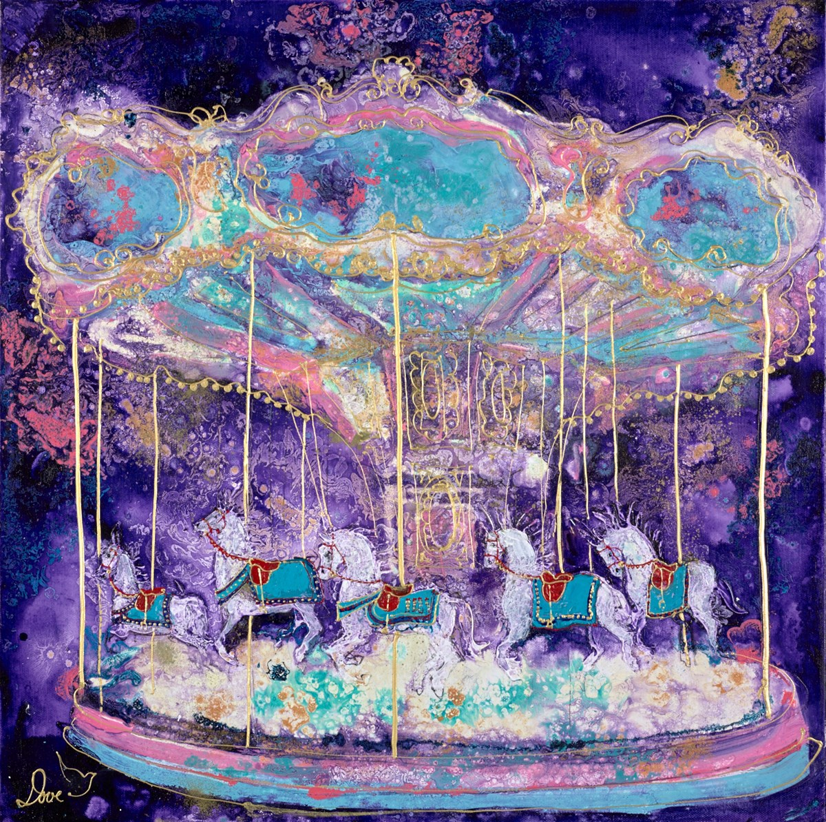 Magical Carousel  by katharine dove -  sized 24x24 inches. Available from Whitewall Galleries